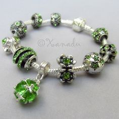 GiftJewelryShop Silver Plated Mom and Baby Painting Peridot Crystal August Birthstone Flower Bead Charm Bracelets