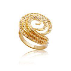 Anel Folheado a ouro 18k gravejado de pedras de zircônia
