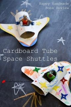 Cardboard Tube Space Shuttles - a fun and easy toilet paper roll and cereal box craft. Your little space explorer will be flying around the room in no time! by wendi Camping Crafts, Outer Space Crafts For Kids, Space Books For Kids, Cool Kids Crafts, Space Crafts Preschool, Arts And Crafts For Kids Easy, Space Activities For Kids, Space Kids, Craft Activities