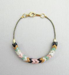 Image of Single Strand Chevron Bracelet - Pattern - White/Pink/Mint/Black/Peanut