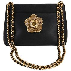 72bccf095d88 Chanel Evening Bag Satin Camellia Gilt Metal Shoulder Bag