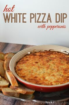 Hot White Pizza Dip with Pepperonis and Philadelphia cream cheese