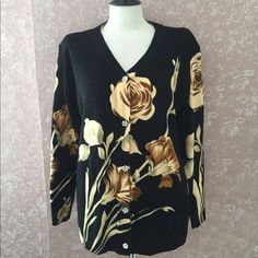 Floral Cardigan Sweater Womens Large L Black Beige  #TCFashion #Cardigan