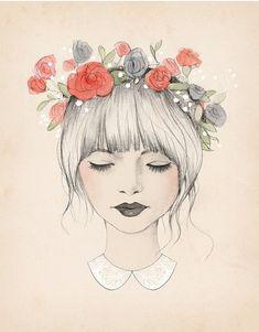 art, dibujos, drawing, face, flower, girl, hair, ♦