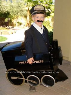 Homemade Polar Express and Conductor Costume: My son is OBSESSED with The Polar Express.  So when he said he wanted to be the Polar Express for Halloween, I did what any mother would do for her child.