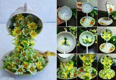 MENTŐÖTLET - kreáció, újrahasznosítás: Egy csésze virág tavaszi dekoráció