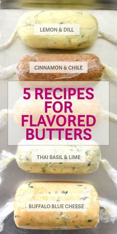 Herbs, citrus, and even cheese flavor these 5 recipes for easy-to-make homemade compound butters Flavored Butter, Homemade Butter, Basil Butter Recipe, Creamed Butter Recipe, Blue Cheese Butter, Cinnamon Butter, Herb Butter, Honey Butter, Lemon Butter