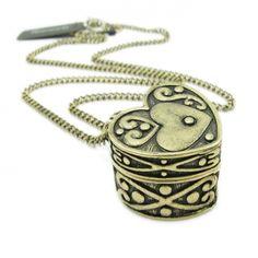 Antique Heart Pendant Love Chain Necklace