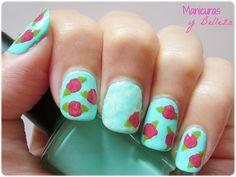 Flowers and roses nails nail art / Manicuras de flores o rosas vintage