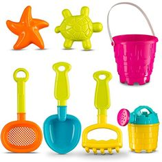 "Castle Sand Tools Beach Set 7 pcs with Animal Molds | 6"" Sand Castle Mold 