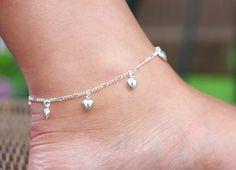Silver Anklet Sterling Silver Anklet Sterling Silver Hearts