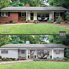 Brick House Exterior Discover 6 Home Makeovers: How to Copy the Look Ranch Exterior, Exterior Remodel, Reforma Exterior, Painted Brick Exteriors, Painted Brick Ranch, Painted Brick Houses, Painted White Brick House, Brick Ranch Houses, Concrete Houses