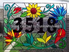 Floral House Name/Number Static Window Cling hand painted floral house name number window clings window art stained glass effects suncatchers decals stickers [] - £17.50 : Funky Window Art!, Window clings, suncatchers, stained glass effects