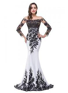 USD$194.67 - Glamorous Long Sleeve Mermaid 2016 Evening Dress Black Appliques : www.27dress.com