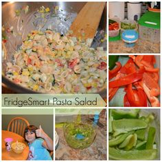 Homemade Pasta Salad Recipe  Of course you want to start off with buying your produce, cutting up your veggies & storing in your FridgeSmart Tupperware with the appropriate venting.   Raw Red Peppers, Raw Green Peppers, Salt, Black Pepper, Garlic Powder, Cucumbers, Cooked Corn, Cooked Pasta, Shredded Cheddar Cheese, Ranch Dressing.