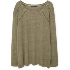 Violeta BY MANGO Violeta BY MANGO Trim Linen-Blend T-Shirt (€65) ❤ liked on Polyvore featuring tops, sweaters, hauts, long sleeve tops, brown tops and round top