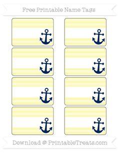 Free Pastel Light Yellow Horizontal Striped Nautical Name Tags