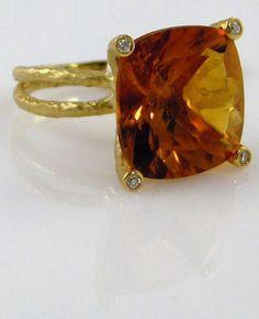 Cushion cut citrine and diamond ring