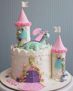 Dinosaur with Castle Birthday Cakes for Girls