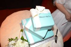 This was the actual wedding cake designed by the bakery at the Stratosphere Hotel for my May 19th wedding!  Tiffany box!  Wright & Company is because her married last name is Wright!