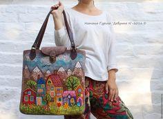 """Купить Сумка """"Горы и город"""" - комбинированный, рисунок, сумка ручной работы, сумка, сумка женская"""