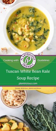The best Tuscan White Bean Kale Soup recipe with winter squash, leeks, lacinato kale and creamy cannellini beans. Quick and easy to make on the stove top, without meat, 100% vegan and gluten free! Slow cooker method included.