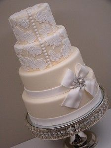 Vintage style wedding cake. I love the pearl buttons!!