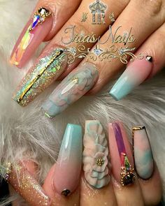 I like the cotton candy colored nails Glam Nails, Dope Nails, Bling Nails, Beauty Nails, Fun Nails, Beautiful Nail Designs, Beautiful Nail Art, Cute Nail Designs, Fabulous Nails