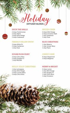 These are some of doTERRA's favorite Holiday Diffuser Blends! Diffuse these in the home to provide an atmosphere of the holidays. http://mydoterra.com/melindasanders1