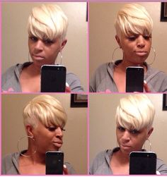 Hair by Latise Dope Hairstyles, My Hairstyle, Black Girls Hairstyles, Short Quick Weave Hairstyles, Blonde Hairstyles, Pixie Hairstyles, Short Sassy Hair, Short Hair Cuts, Pixie Cuts