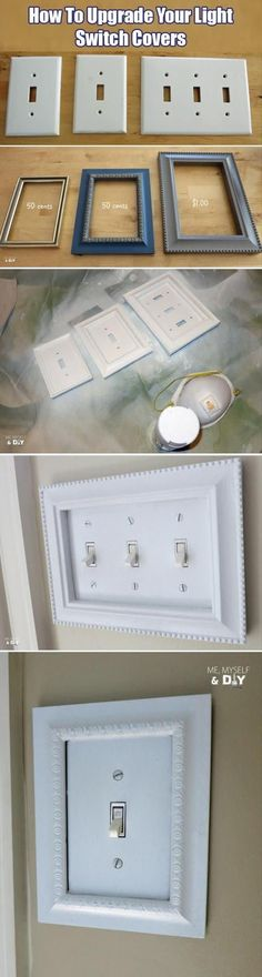 Inexpensive craft store frames fit perfectly around light switch covers! --I like the LOOK Expensive (but not really BE expensive! -- 31 Easy DIY Upgrades That Will Make Your Home Look More Expensive-- Weekend Projects, Home Projects, Craft Projects, Ideias Diy, Do It Yourself Crafts, Light Switch Covers, Switch Plate Covers, Light Switch Plates, Diy Hacks