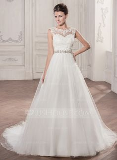 Ball-Gown Scoop Neck Chapel Train Tulle Wedding Dress With Beading Appliques Lace Sequins (002058759) - JJsHouse