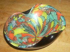 Venetian-Murano-Silver-Mica-Tutti-Frutti-and-Black-Amethyst-Art-Glass-Bowl