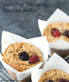 Gluten Free Blackberry Breakfast Muffins are super yummy, but so healthy you will want to eat these all of the time. Recipe at http://www.fearlessdining.com