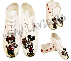 Tenisi pictati manual, in culori textile - Minnie and Mickey Mouse   www.laviq.ro www.facebook.com/pages/LaviQ/206808016028814 Manual, Mickey Mouse, Baby Shoes, Textiles, Facebook, Sneakers, Kids, Fashion, Trainers