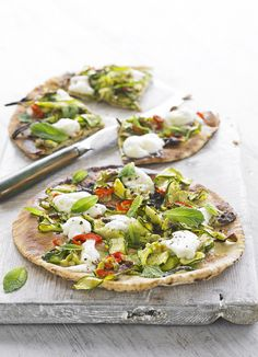 Courgette, chilli and mint pizzas