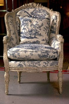 Antique French Wingback Bergere Chair with blue and white toile French Country Rug, French Decor, French Country Decorating, French Style, Country Style, French Country Furniture, Shabby Chic Furniture, Rustic Furniture, Antique Furniture