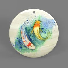 Color Printing Fish White Shell Pendant Necklace J1705 0051 #ZL #Pendnat