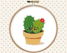 Funny cactus cross stitch pattern  kawaii by GentleFeather on Etsy