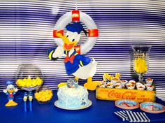 Donald Duck Party table set up First Birthday Themes, Disney Birthday, 3rd Birthday Parties, 2nd Birthday, First Birthdays, Birthday Ideas, Donald Bebe, Donald Duck Party, Baby Shower Duck