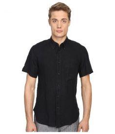Billy Reid Short Sleeve Tuscumbia Shirt (Black) Men's Short Sleeve Button Up