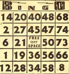 Vintage Bingo card