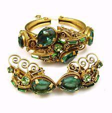 Vintage Emerald Rhinestone & Gold Tone Cuff Bracelet & Earrings Set after Hobe