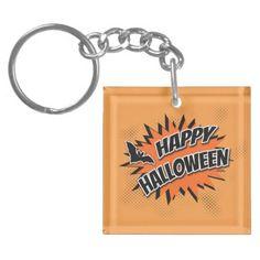 #Happy Halloween Keychain - #halloween #party #stuff #allhalloween All Hallows' Eve All Saints' Eve #Kids & #Adaults
