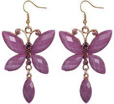 Purple Butterfly Rhinestone Faceted Dangle Earrings - Candy Luxx
