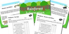 Rainforest Information Powerpoint and Worksheet Pack - rainforests, rainforest… Teaching Packs, Rainforests, Tree Tops, School Projects, Geography, Habitats, Worksheets, Student