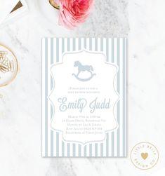 Boy Baby Shower Invitation / Rocking Horse Baby Shower Invite