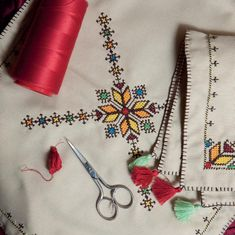 Traditional Fes style embroidery embellishes the finest household items in Morocco Crystal Embroidery, Embroidery Fabric, Coin Couture, Modern Moroccan Decor, Embroidered Bedding, Africa Art, Fabric Manipulation, Cross Stitch Designs, Traditional Art