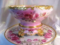 Gorgeous Antique T&V Limoges France Hand Painted Roses Porcelain Punch Bowl With Matching Plinth/Pedestal/Base And Matching 18 Tray ~ Victorian Masterpiece Heirloom Treasure ~ Circa 1900 Punch Bowl Set, Porcelain Vase, Painted Porcelain, Carnival Glass, Hand Painted, Painted Roses, Cut Glass, Tea Pots, Teacups