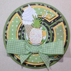Carte ronde saison été : thème glace et ananas, Créalis - fraicheur
